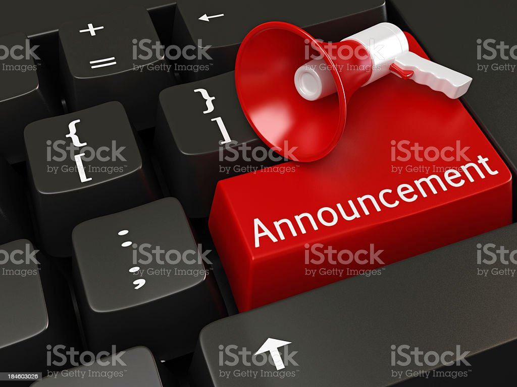 Tiny megaphone sitting on a red button titled Announcement stock photo