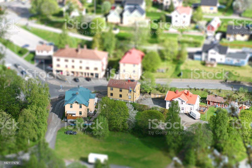 Tiny model houses in a quaint neighborhood royalty-free stock photo