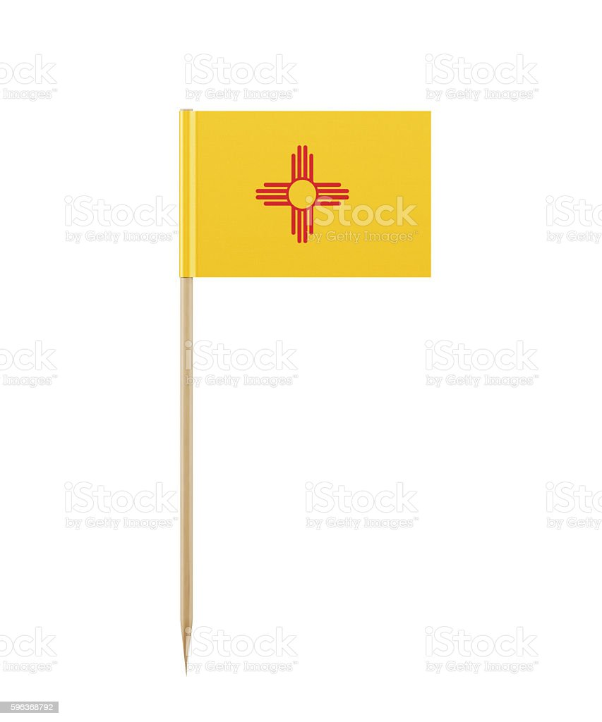 Tiny New Mexico State Flag on a Toothpick stock photo