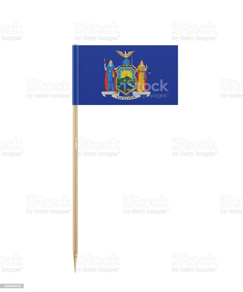 Tiny New York  Flag on a Toothpick stock photo