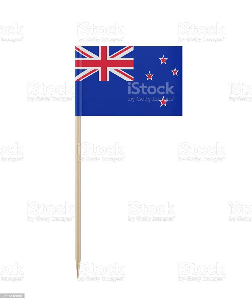 Tiny New Zealand Flag on a Toothpick stock photo