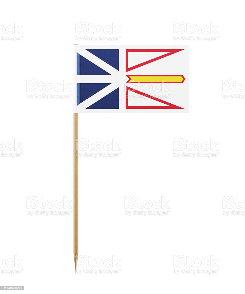 Tiny Newfoundland and Labrador Flag on a Toothpick stock photo