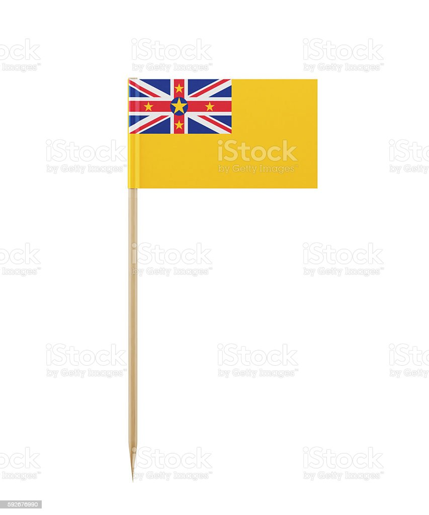 Tiny Niuean Flag on a Toothpick stock photo