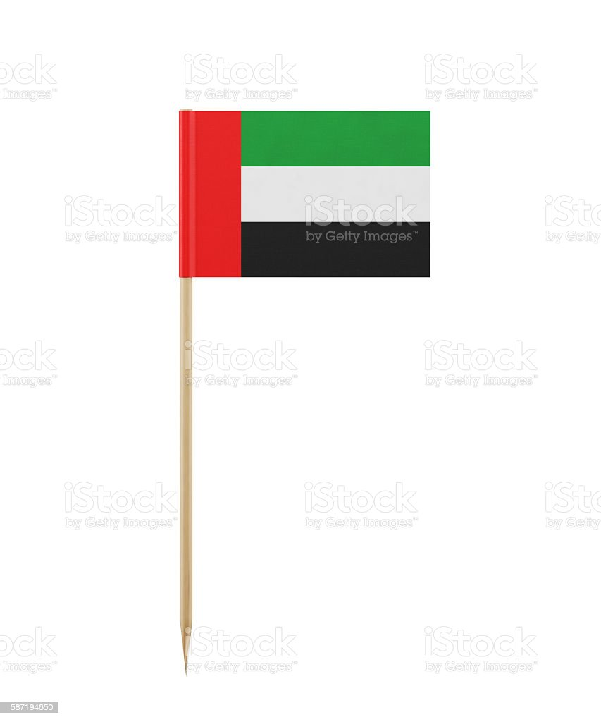 Tiny of United Arab Emirates on a Toothpick stock photo