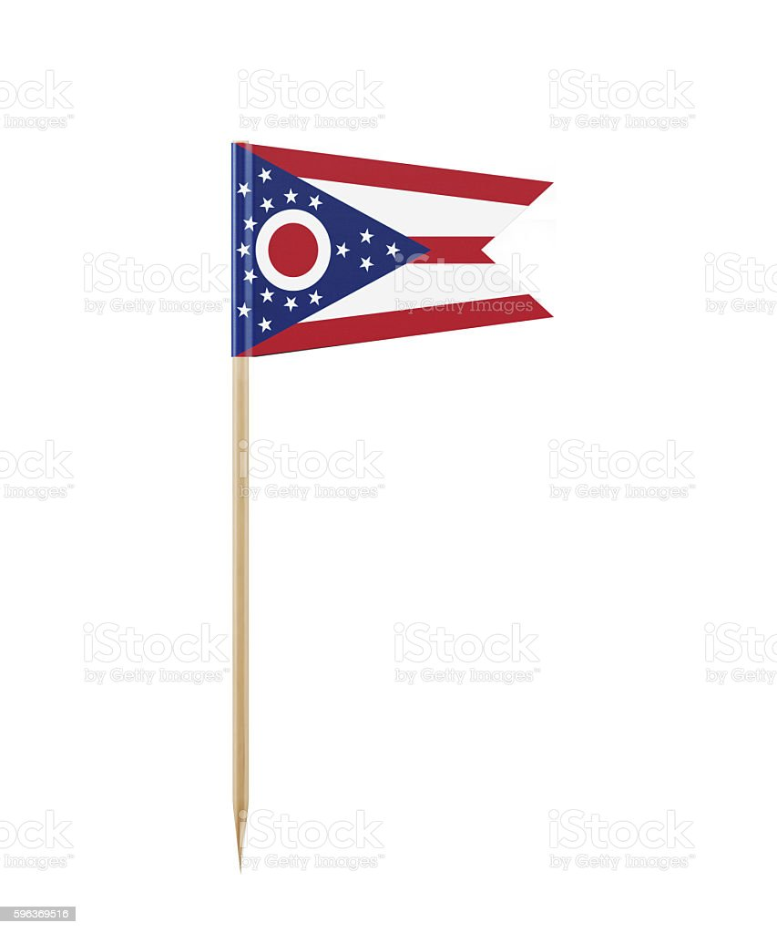 Tiny Ohio State  Flag on a Toothpick stock photo