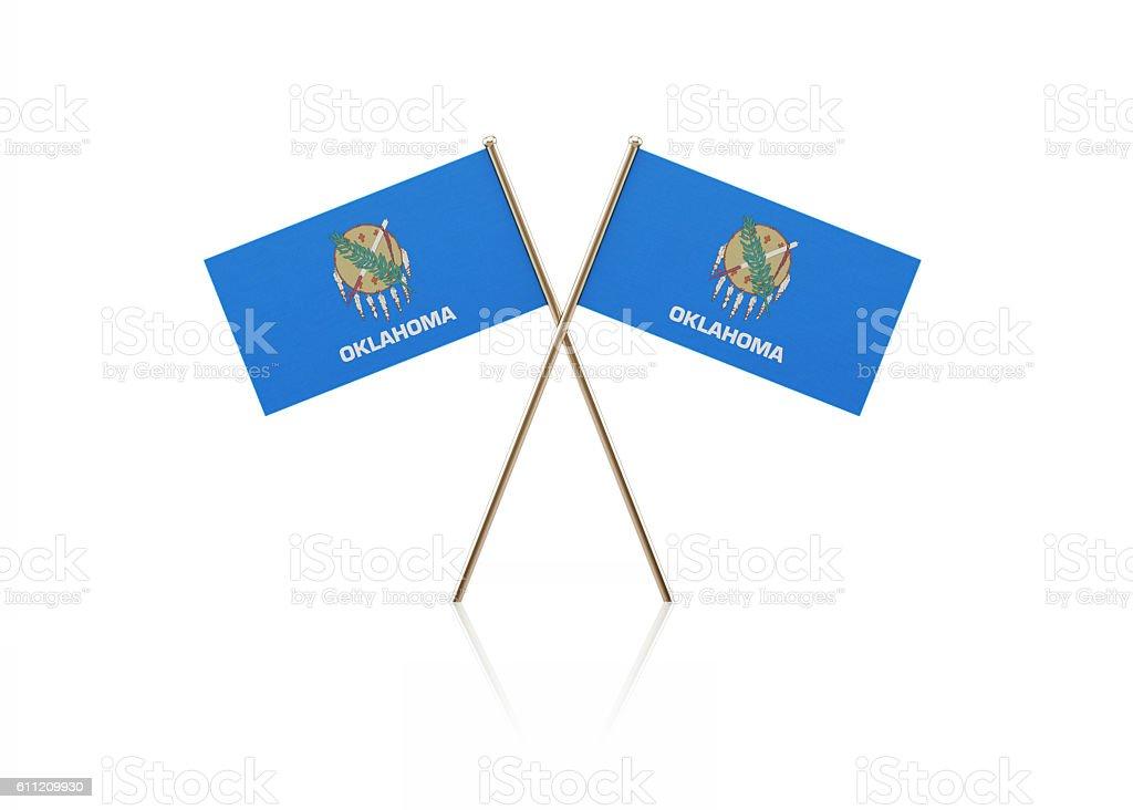Tiny Oklahoma Flag Pair on Gold Sticks stock photo
