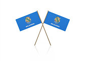 Tiny Oklahoma Flag Pair on Gold Sticks