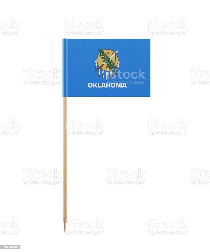 Tiny Oklahoma State Flag on a Toothpick stock photo