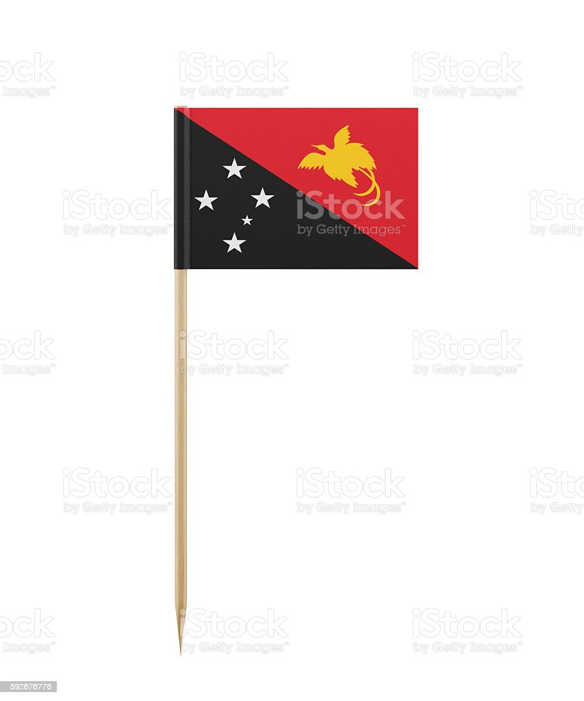 Tiny Papua New Guinean Flag on a Toothpick stock photo