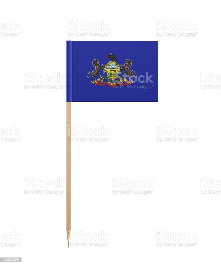 Tiny Pennsylvania Flag on a Toothpick stock photo