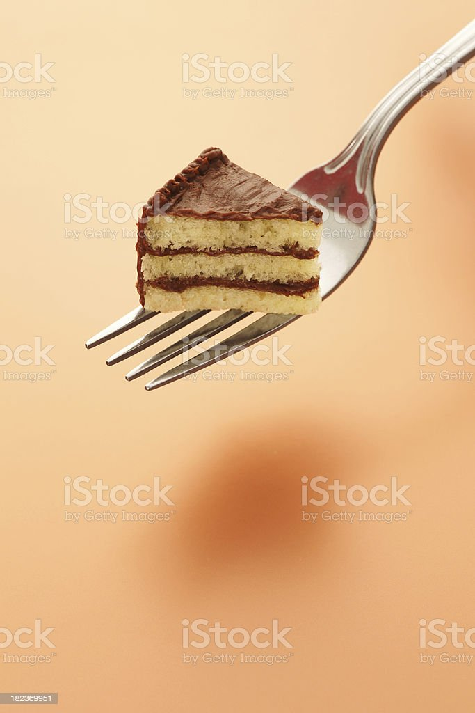 Tiny Piece of Cake on Fork stock photo