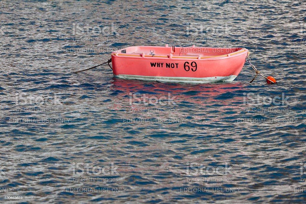 Tiny Red Boat stock photo