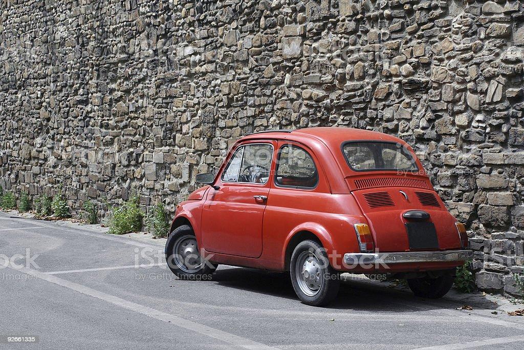 Tiny red vintage car royalty-free stock photo