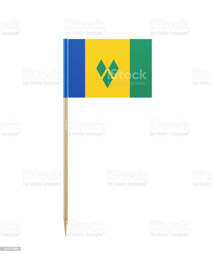 Tiny Saint Vincent Flag on a Toothpick stock photo