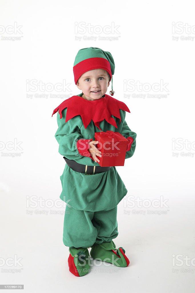 tiny santa helper royalty-free stock photo