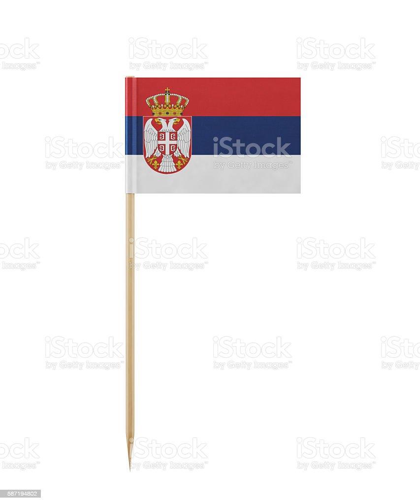 Tiny Serbian Flag on a Toothpick stock photo