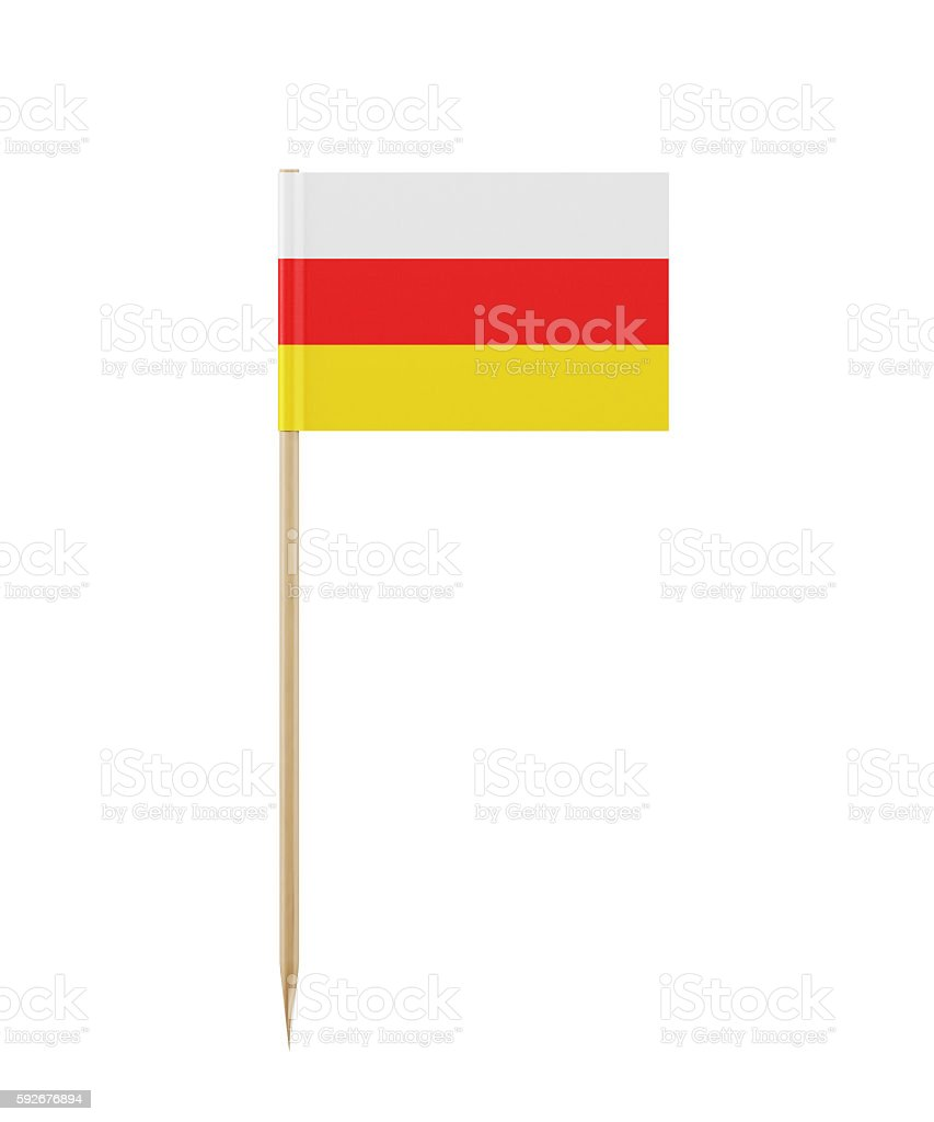 Tiny South Ossetian Flag on a Toothpick stock photo