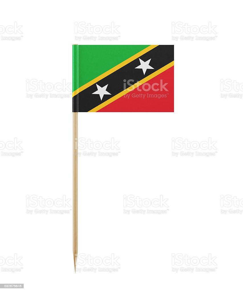 Tiny St Kitts Flag on a Toothpick stock photo