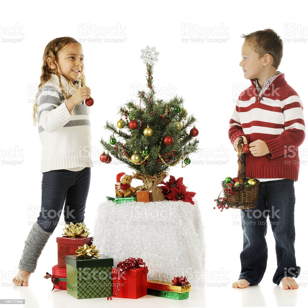 Tiny Tree Decorators royalty-free stock photo