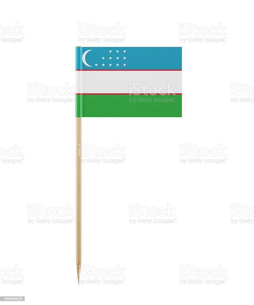 Tiny UzbekistaniFlag on a Toothpick stock photo