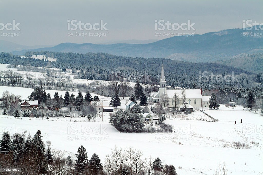Tiny Village in winter. stock photo