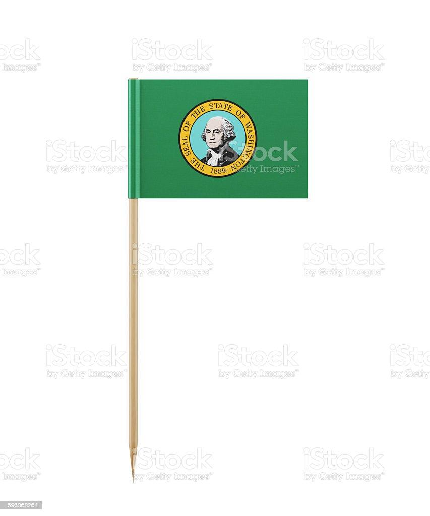 Tiny Washington State Flag on a Toothpick stock photo