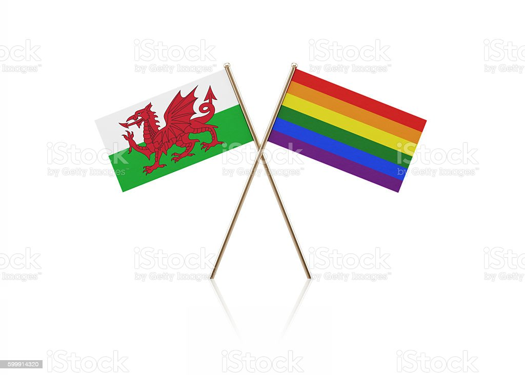 Tiny Welsh and LGBT Flag Pair on Gold Sticks stock photo