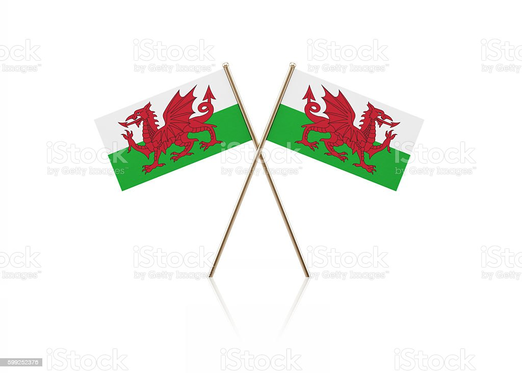 Tiny Welsh Flag Pair on Gold Sticks stock photo