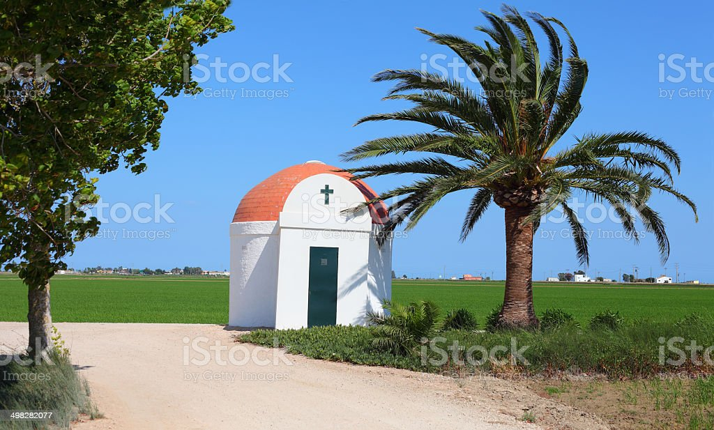 tiny white chappel in Rice field stock photo