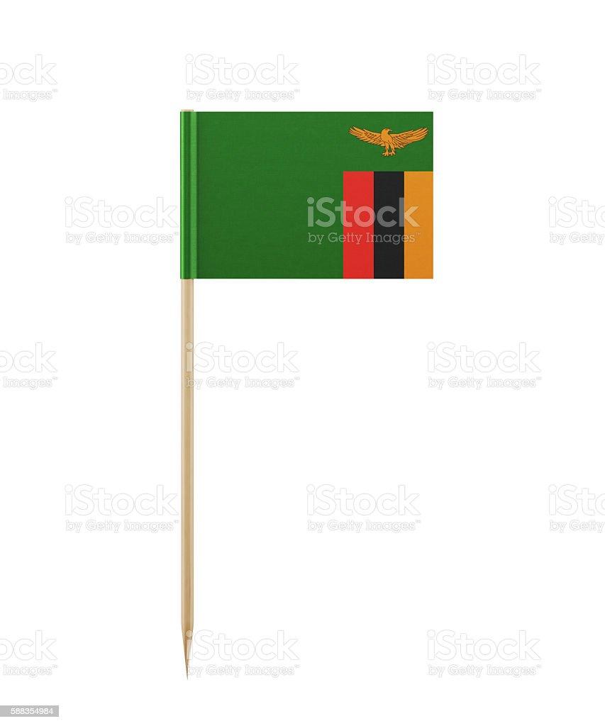 Tiny Zambian Flag on a Toothpick stock photo
