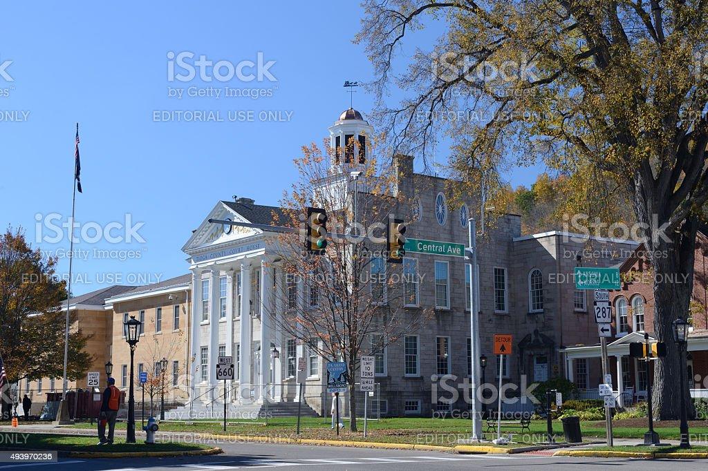 Tioga County Court House in Wellsboro of Pennsylvania stock photo
