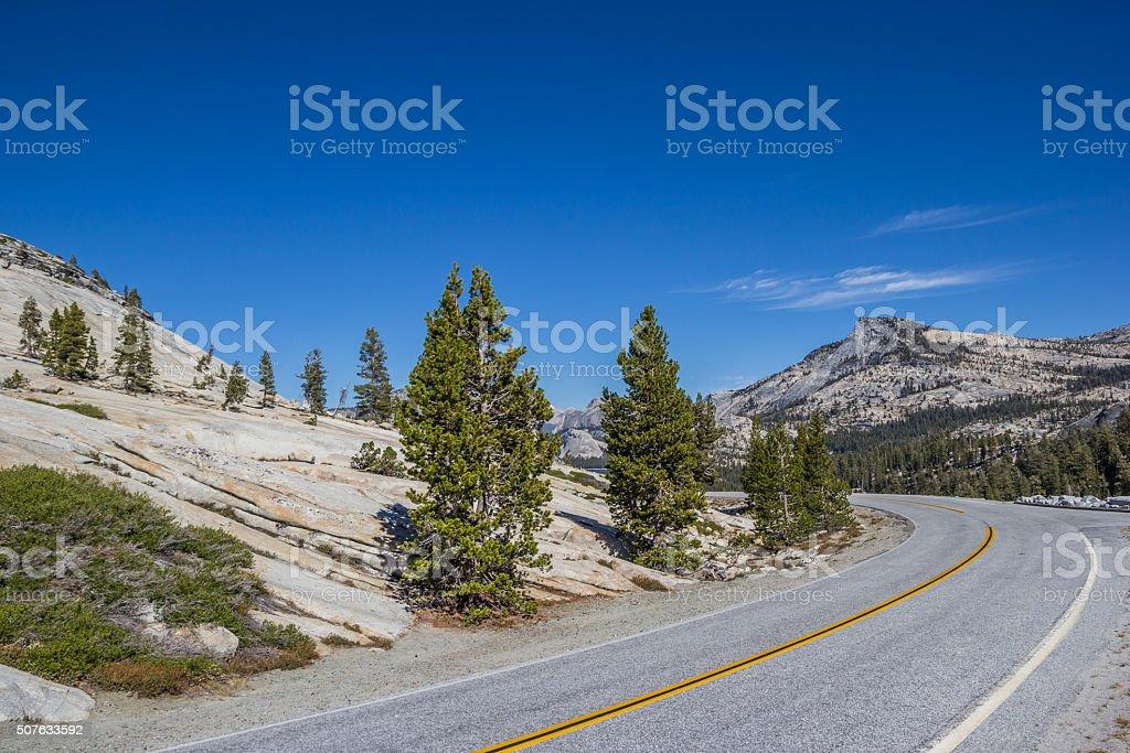 Tioga Pass road in Yosemite National Park stock photo