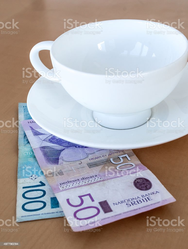 Tip at a Cafe in Serbian Dinar (RSD) Cash royalty-free stock photo