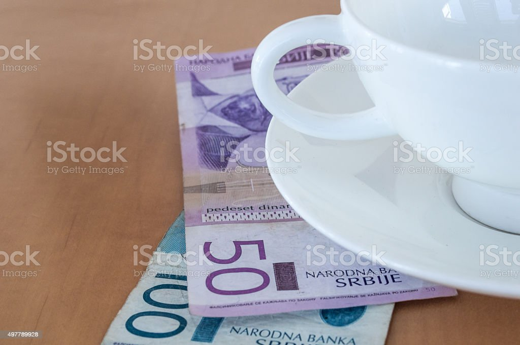 Tip at a Cafe in Serbian Dinar (RSD) Close Up royalty-free stock photo