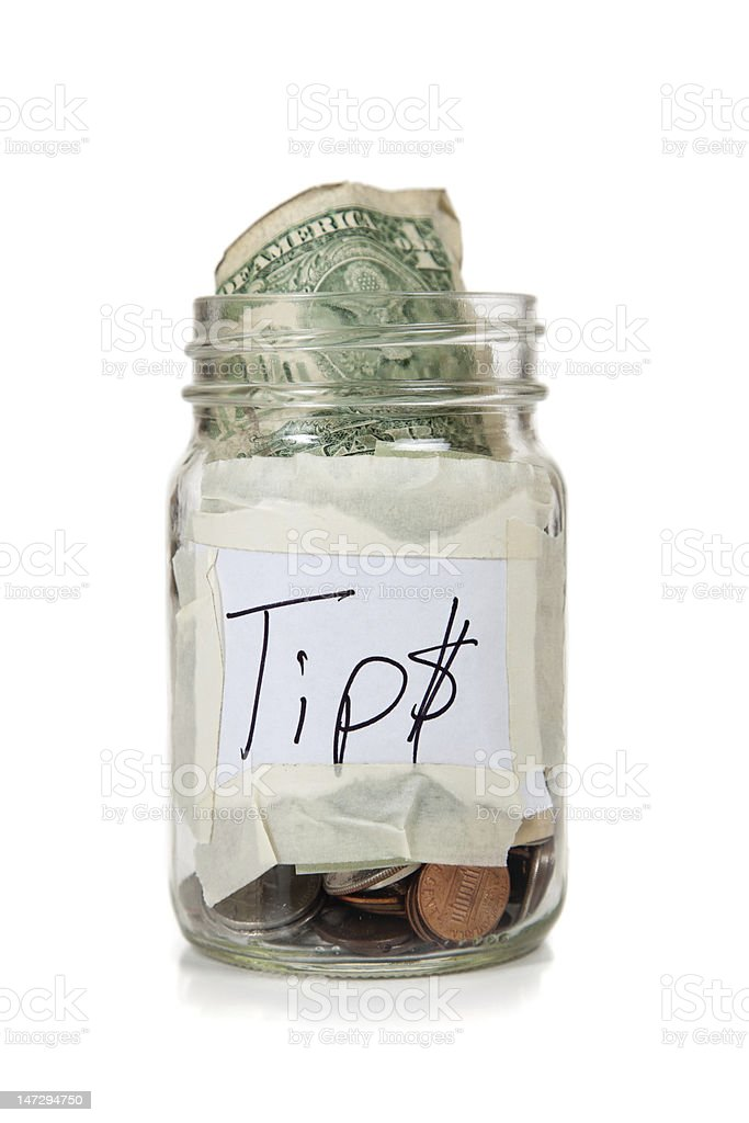 Tip Jar on White Background stock photo