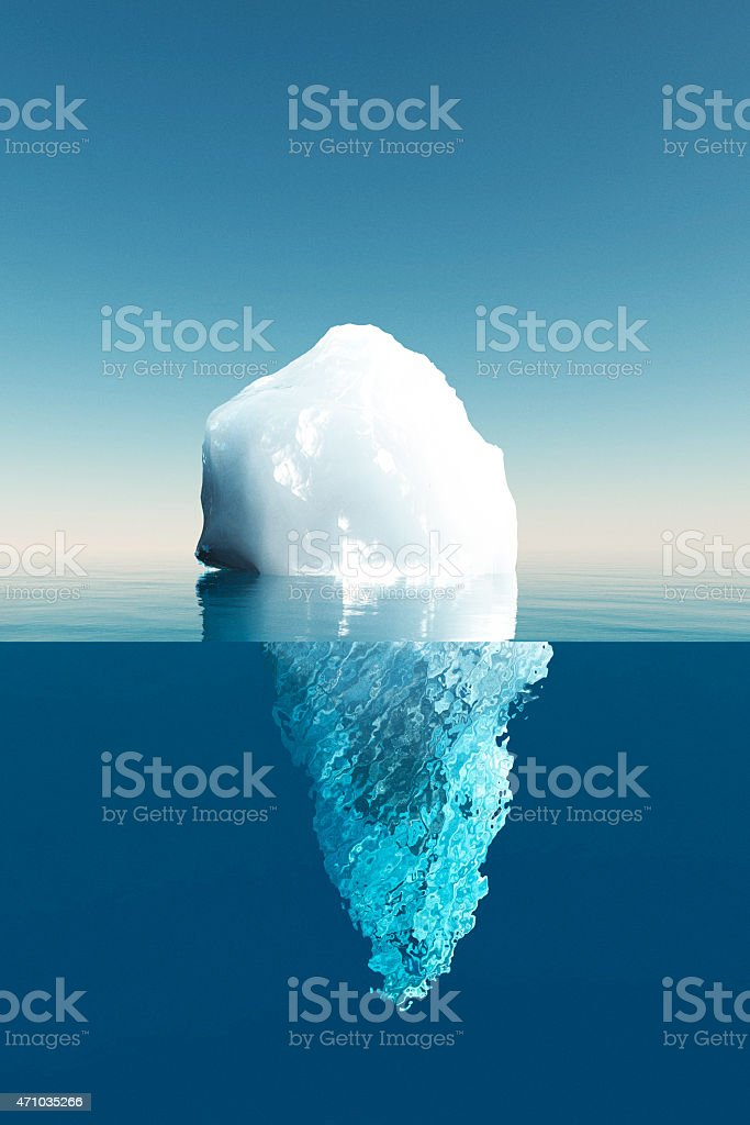 Tip of an iceberg outside the water stock photo