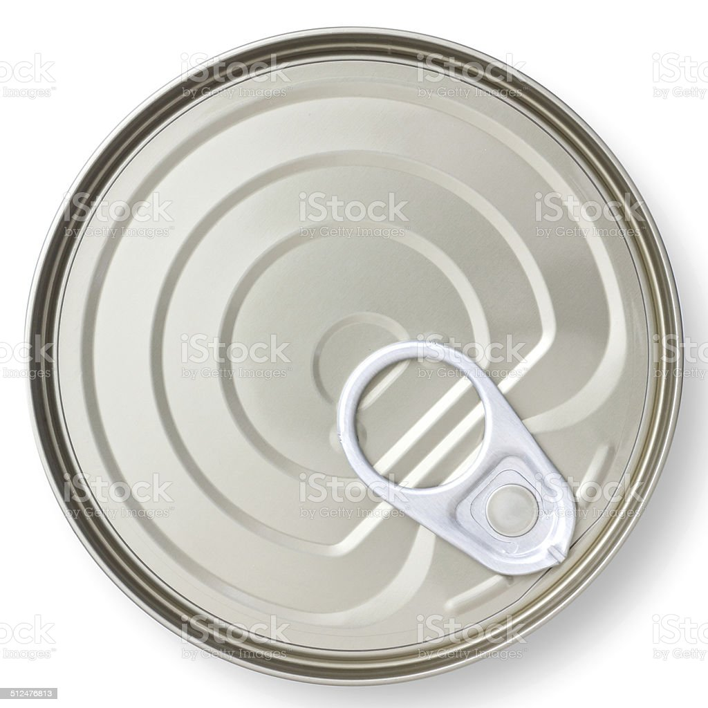 Tip view of a closed tin can with pull ring. stock photo