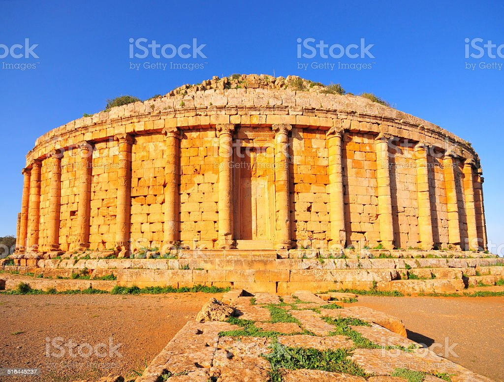 Tipasa, Algeria: Tombeau de la Chr?tienne mausoleum stock photo