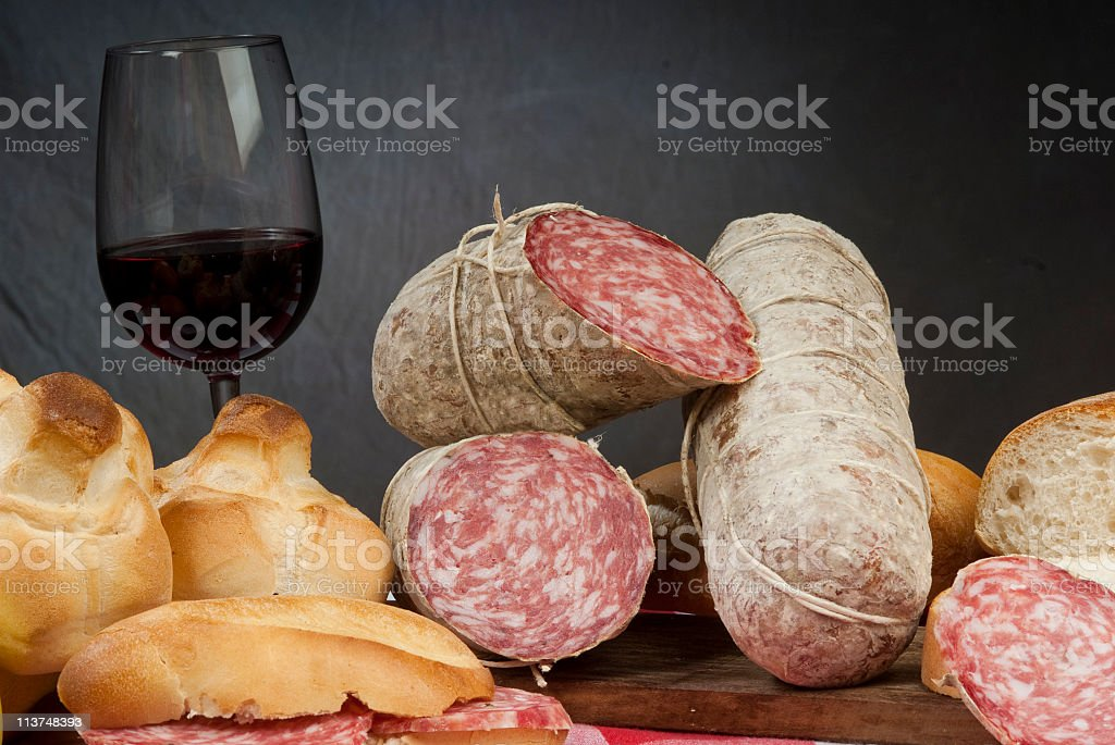 tipe of salted pork meat salame bacon mortadella sausages royalty-free stock photo