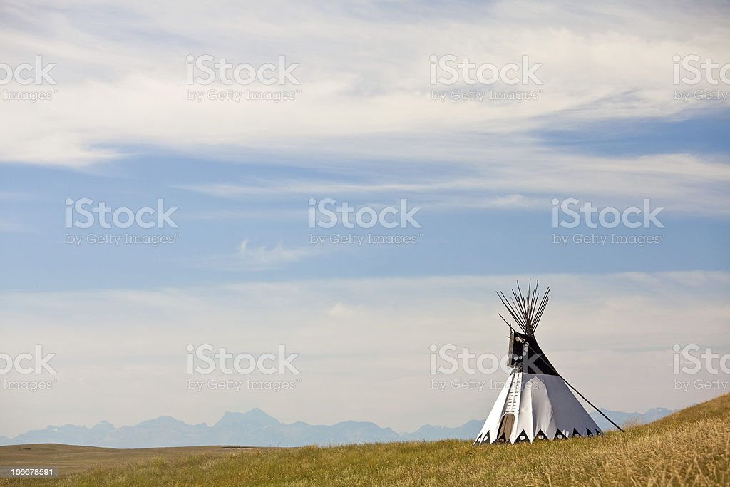 Tipi on the Great Plains stock photo