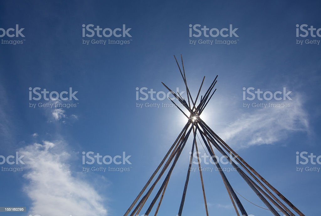 Tipi or Teepee on the Great Plains stock photo