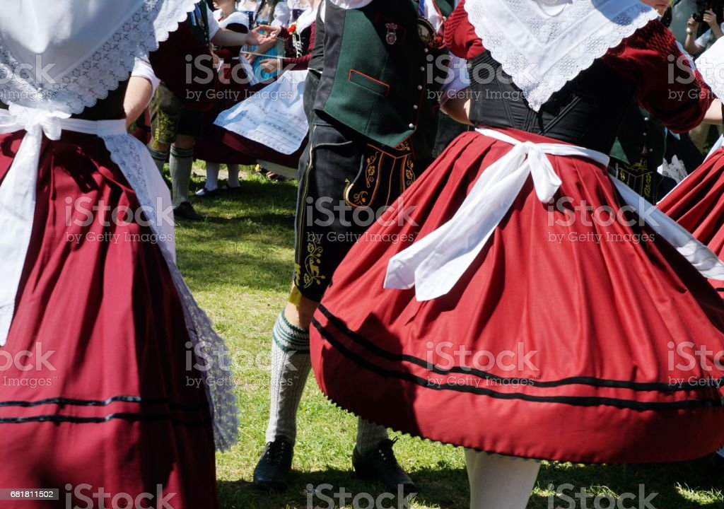 Tipical Bavarian traditional customs. Dance into May. stock photo