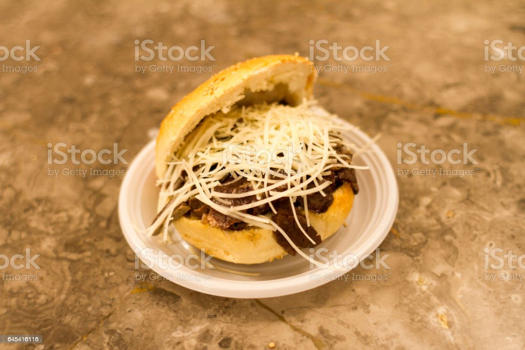 Tipical bread with spleen in Palermo stock photo