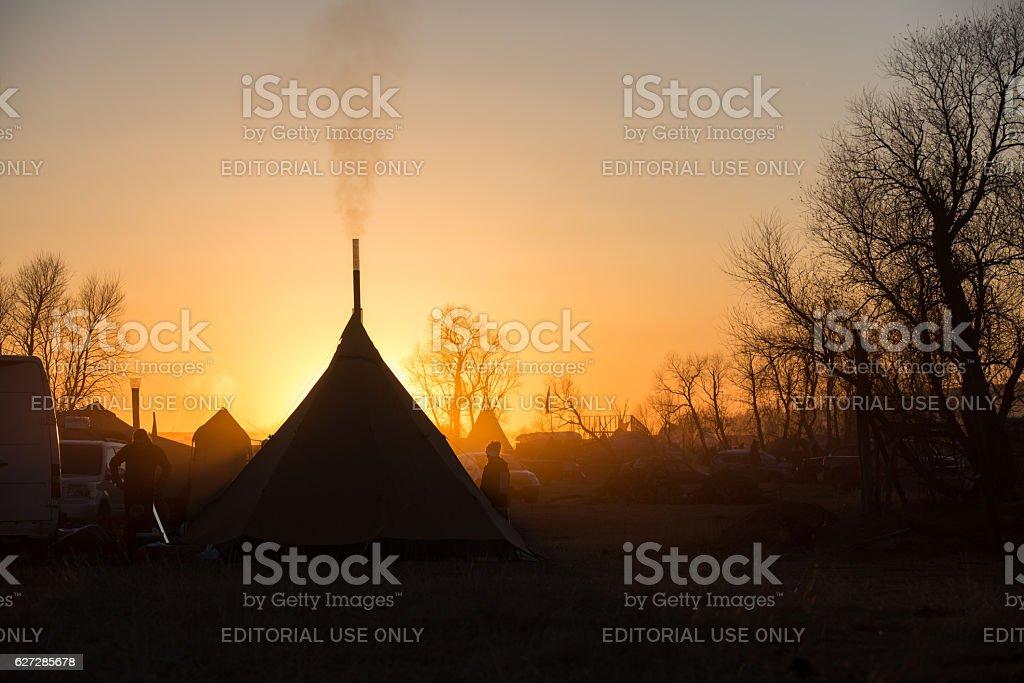 Tipis at sunset at Standing Rock stock photo