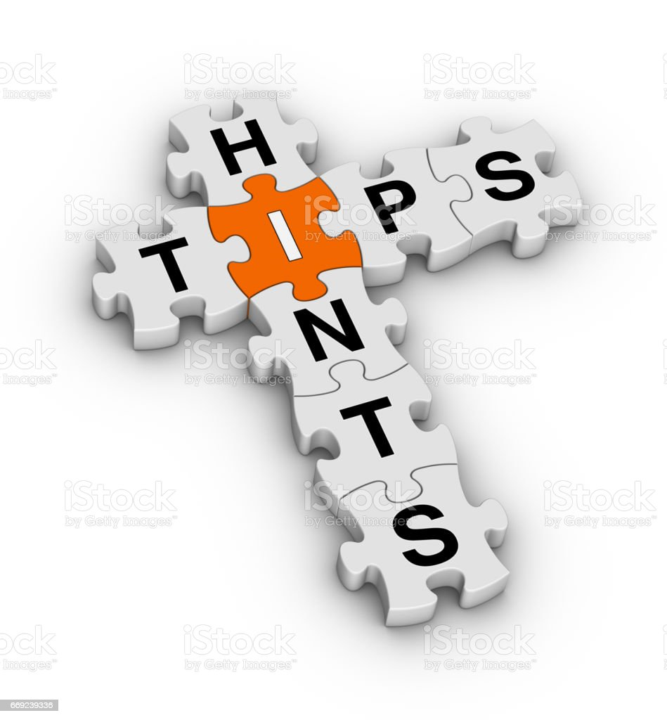 Tips and Hints Crossword Puzzle. stock photo