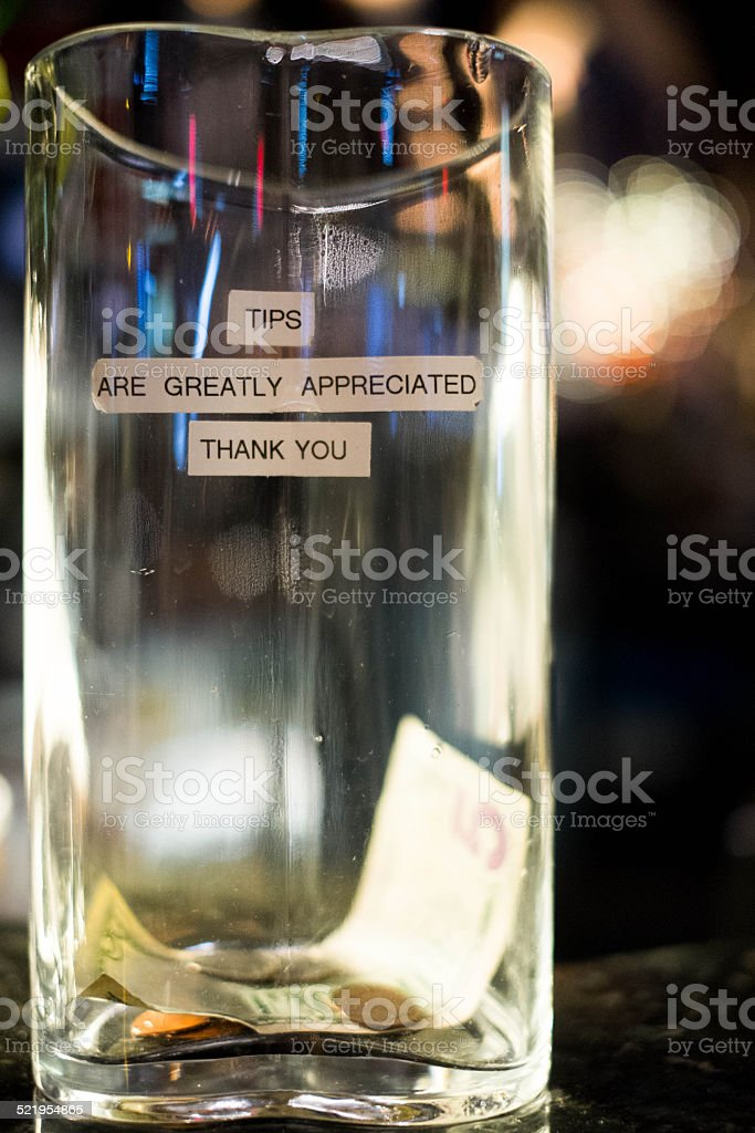tips are greatly appreciated stock photo