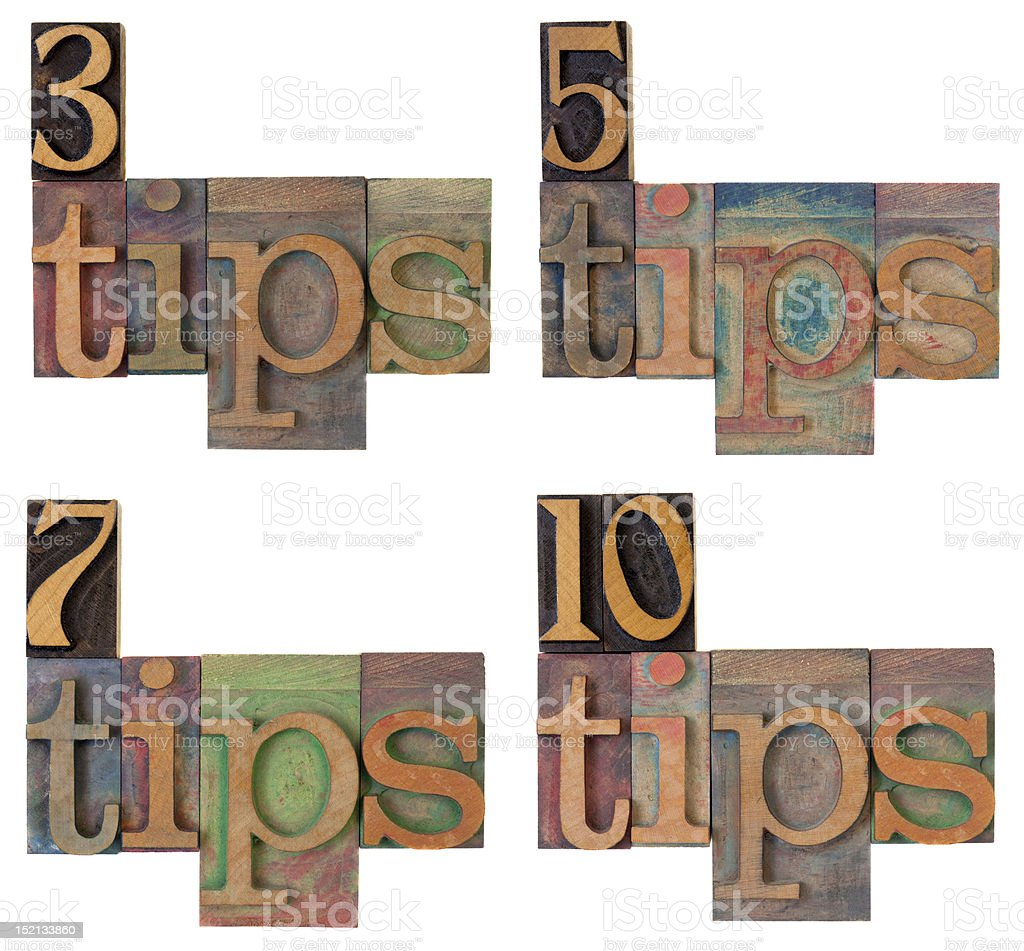 tips - headline of a list stock photo