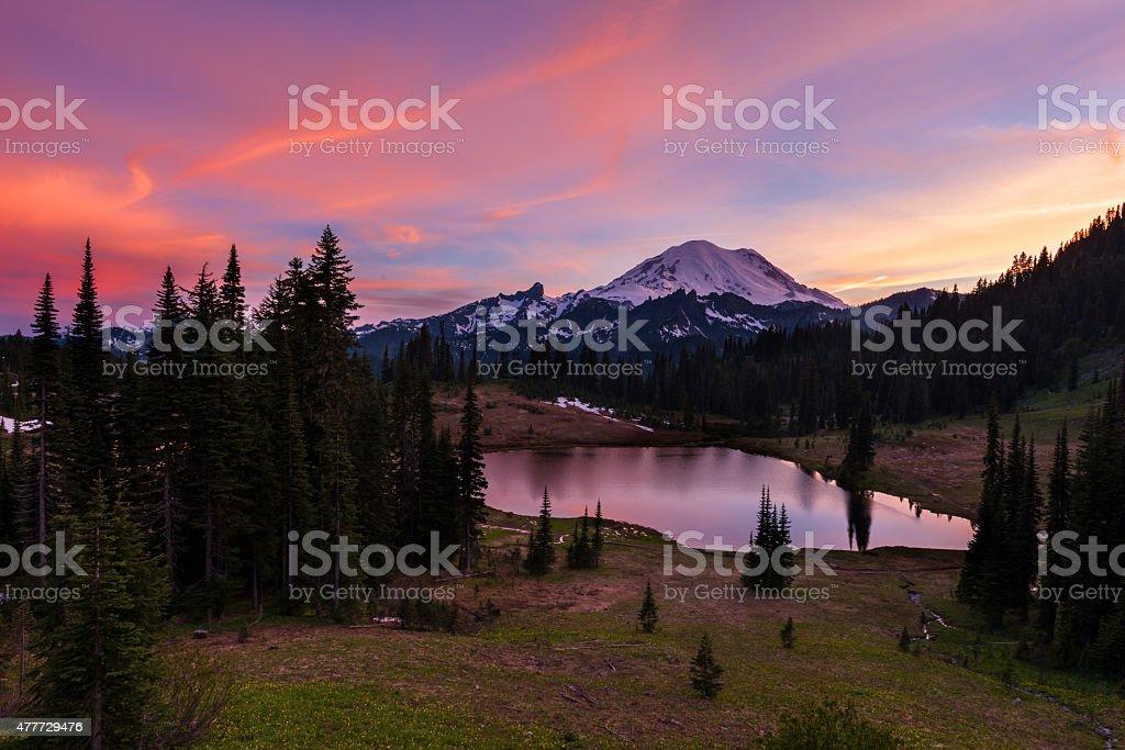 Tipsoo Lake at Sunset stock photo