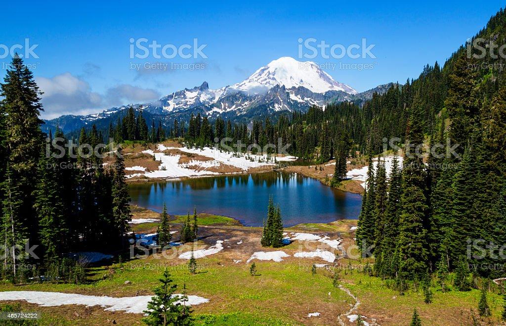 Tipsoo Lake stock photo