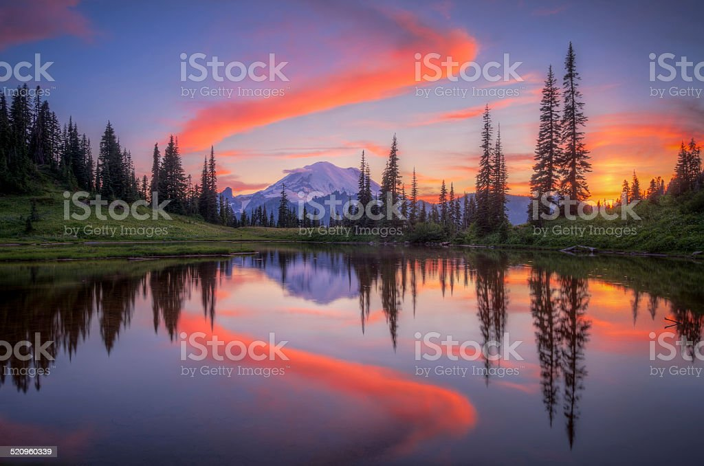 Tipsoo Lake stock photo